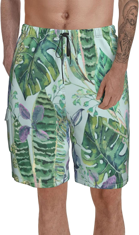 Btrada Green Exotic Leaves Greenery Swim Trunks Waist Elastic 2021new shipping free shipping Sw Long-awaited