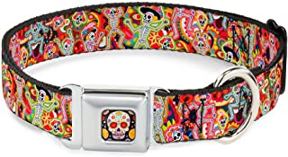 """Buckle Down-Down Seatbelt Dog Collar, Dancing Catrinas Collage Multi Color, 1"""" Wide - Fits 11-17"""" Neck - Medium"""