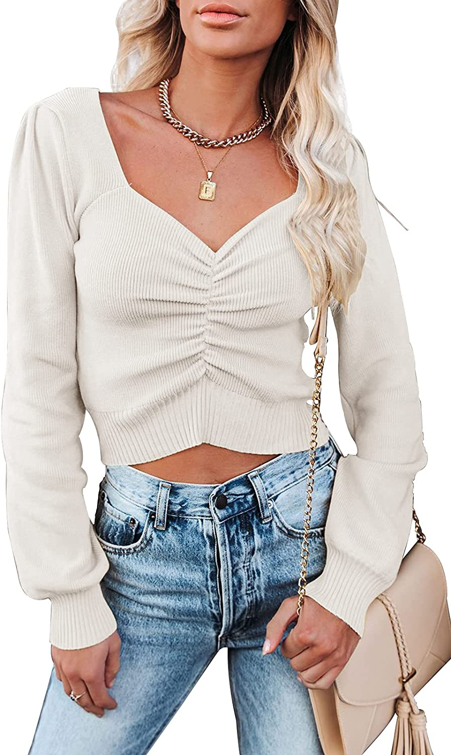 PRETTYGARDEN Women's Chic V Neck Long Sleeve Knit Ruched Tops Ribbed Off Shoulder Crop Pullover Sweater