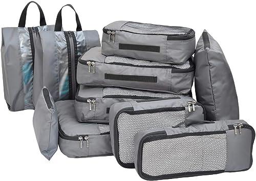 FATMUG Polyester Bag Organizer with Packing Cubes Shoe Bags Storage Bags Set of 10 Grey 600117SWBGA1
