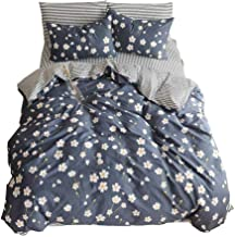 BuLuTu Vintage Floral 3 Pieces Girls Duvet Cover Set Twin Cotton-Super Soft Hotel Stripe Kids Bedding Collections Navy Blue,Comfortable Luxurious Chic Comforter Cover Twin Egyptian Cotton,NO COMFORTER