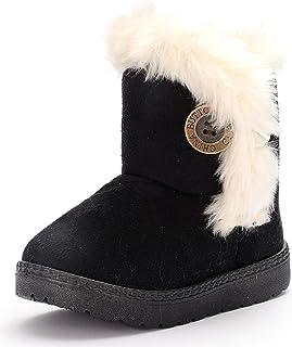 DADAWEN حذاء مسطح لطيف للفتيات والأولاد مع زر Bailey حذاء ثلج دافئ للشتاء