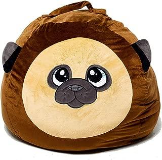 Roomganize Large Stuffed Animal Bean Bag Chair Toy Storage (Pug)