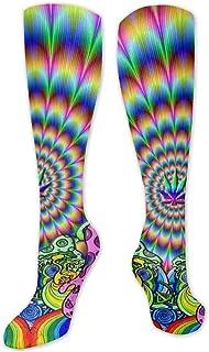 Calcetines de poliéster y algodón por encima de la rodilla, retro, unisex, para muslo, cosplay, botas largas, para deportes, gimnasio, yoga-Trippy Weed Live