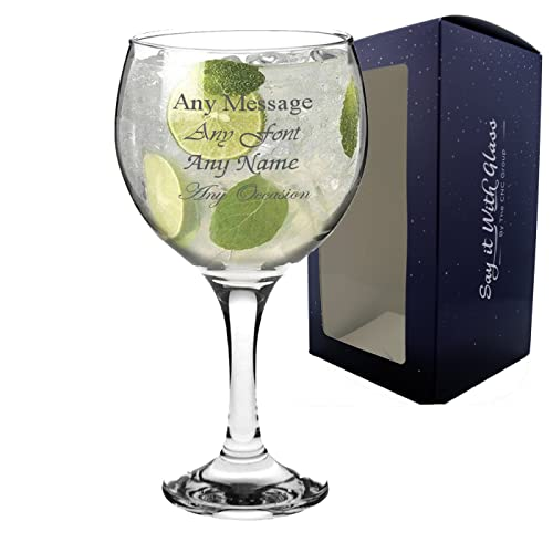 Personalised Engraved Large Gin Balloon Glass Wedding Bridesmaid Birthday 21st 50th Gift