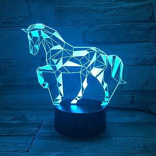 3D Lámpara óptico Illusions Luz Nocturna, EASEHOME LED Lámpara de Mesa Luces de Noche para Niños Decoración Tabla Lámpara de Escritorio 7 Colores Cambio de Botón Táctil y Cable USB, Caballo