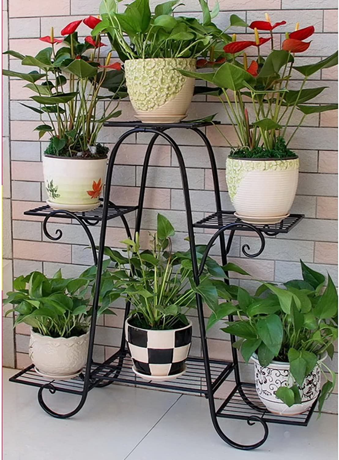 Iron Flower Stand Indoor Outdoor Flower Stand Floor-Standing Flower Stand Modern and Simple Flower Stand Flower Pot Shelf (color   B)