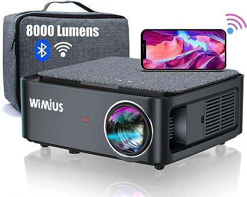 Vidéoprojecteur WiFi Bluetooth Full HD 1080P, 8000 Lumens WiMiUS Rétroprojecteur 1080P Supporte 4K Réglage 4D Fonctio...