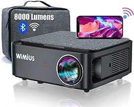 Proyector WiFi Bluetooth Full HD 1080P, 8000 Lúmenes WiMiUS Proyector WiFi Bluetooth 1080P Nativo Soporte 4K Ajuste Digita...