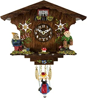 Qwirly Store: Hermle ANNALIESSE Black Forest Quartz Movement Clock #56000 - Vintage Wooden Wall Hanging Clock with Swinging Girl on Weights and Gnomes