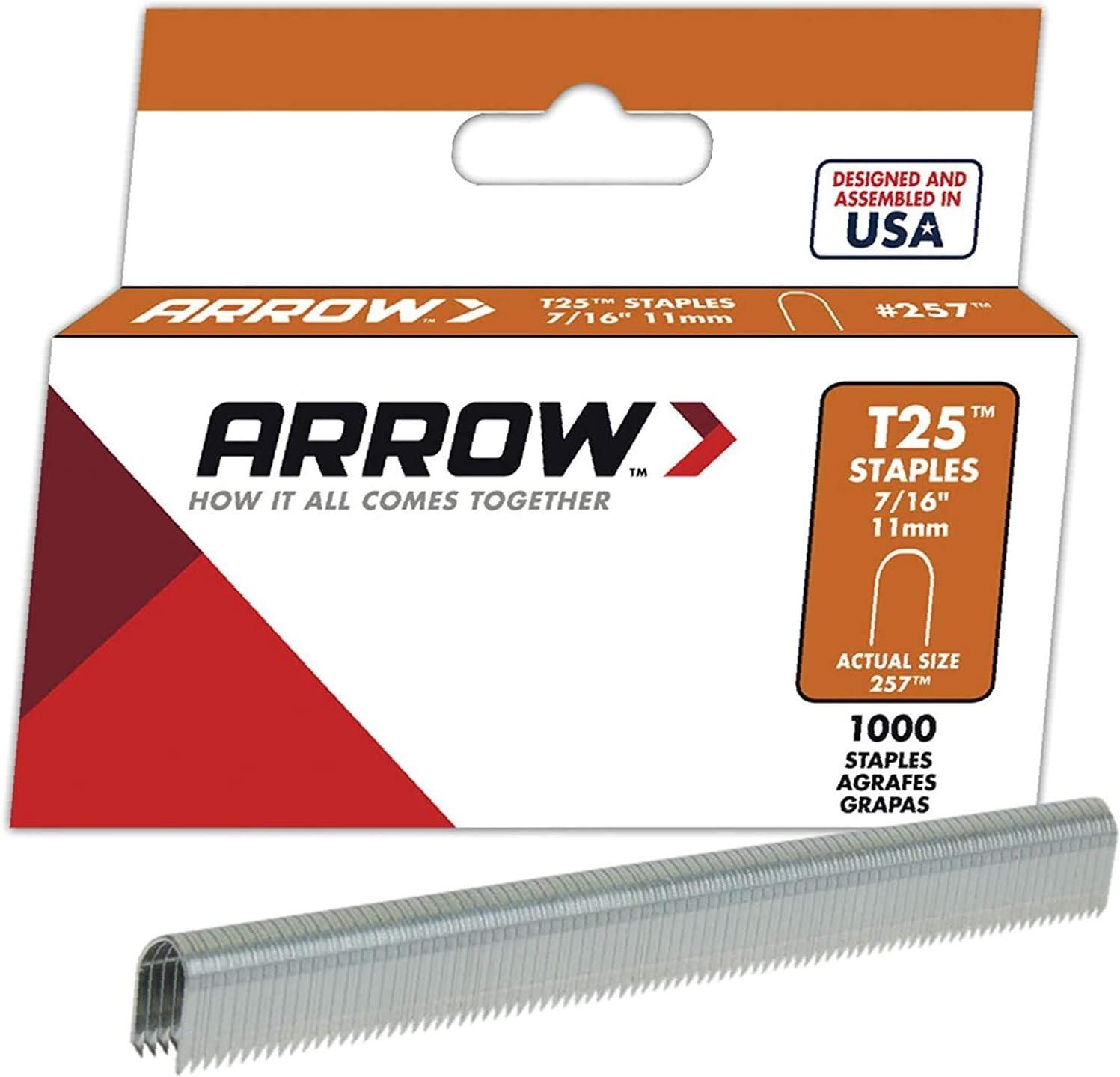 1,000-Pack-New Arrow Fastener 257 Genuine T25//T2025 7//16-Inch Staples
