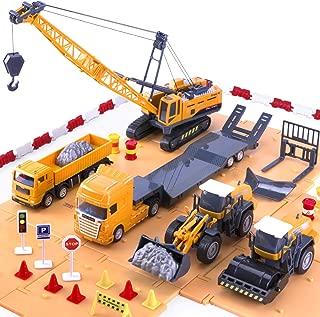 iPlay, iLearn Construction Vehicle Play Set, Crane, Trucks, Bulldozer, Trailer, Toys for Kids Boys (Orange)