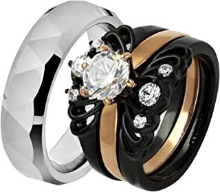 His & Hers Wedding Ring Sets Stainless Steel Round CZ Triangle Faceted Tungsten Men HM