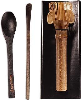 BambooMN Matcha Whisk Set - Skinny Black Chasen (Tea Whisk), Black Tray, Black Chashaku (Hooked Bamboo Scoop), Black Tea S...