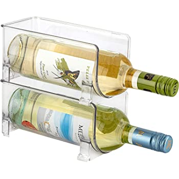 JinaMart Stackable Wine Storage Rack 2 pcs | Free Standing Organizer for Refrigerator or Kitchen Countertops - Holds 2 B