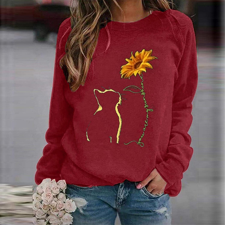 POLLYANNA KEONG Sweatshirts for Women,Women's Long Sleeve Shirt Vintage Casual Sweatshirt Elegant Tunic Blouses
