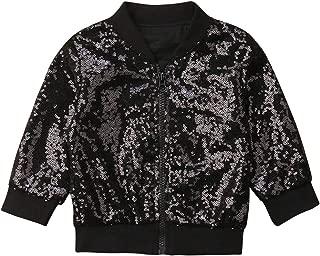 Toddler Kid Baby Girl Long Sleeve Front Zip Sequin Bomber Jacket Outwear Coat