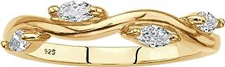 Palm Beach 珠宝 18K 黄金纯银榄尖形切割方晶锆石藤条戒指