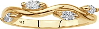 18K Yellow Gold Over Sterling Silver Marquise Cut Cubic Zirconia Stackable Vine Ring