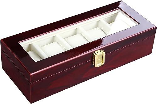 SONGMICS Watch Box, Wooden Watch Organizer, 5 Slots Display Case, Cherry UJOW05C