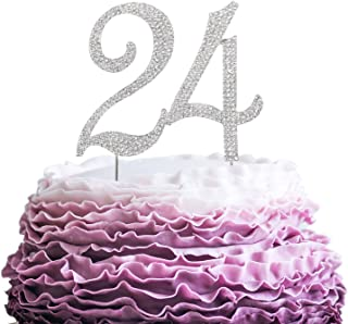 LINGPAR 24 Years Birthday Cake Topper - New Best Crystal Rhinestone 24th Wedding Anniversary Or 24 Years Old Cake Topper Party Decoration Silver