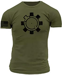 Tactical AR15 Bolt Face Superhero Icon Military Green Premium Athletic Fit T-Shirt