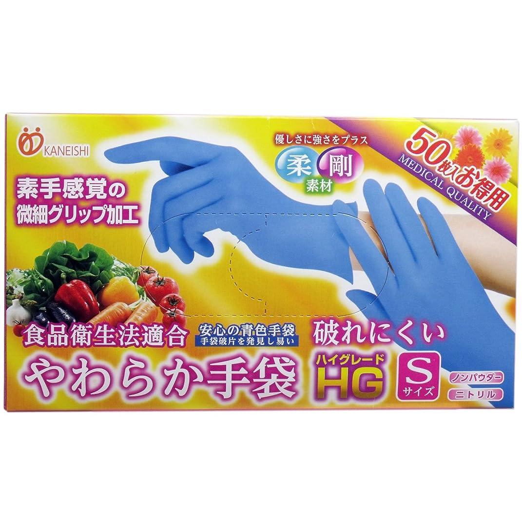 艶不安定な哺乳類使い捨て手袋【カネイシ やわらか手袋HG二トリル手袋 粉無スーパーブルー】500枚(50枚入X10箱) 3サイズ選択可 (Sサイズ)