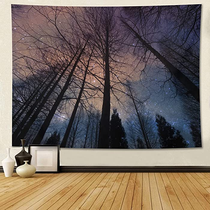 Forest Starry Tapestry Night Sky Tapestry Blue Galaxy Tapestry Universe Wall Hanging Milky Way Tapestry Landscape Nature Home Decor For Bedroom Living Room Dorm 80 X 60 Inch