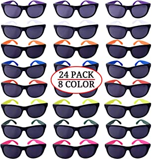 Neon Party Sunglasses, 24 Pack 8 Colors, With Dark Lens for Fun Gift, Bulk Pool Party Favors, Beach Party Favors, Party Toys for Girls Boys Teens adults