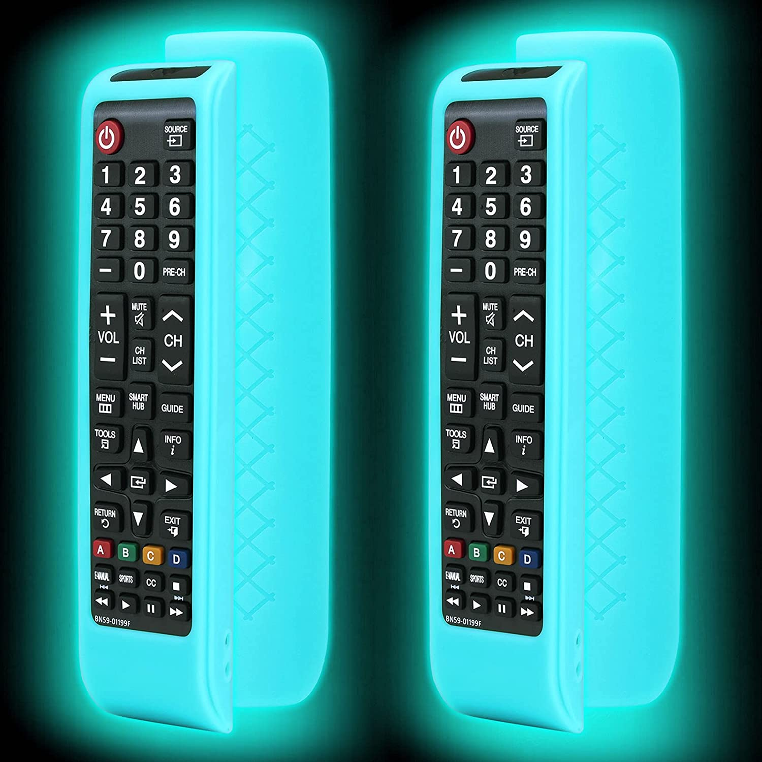 2 Pack Remote case for Samsung TV Controller, Silicone Remote Cover for BN59-01199F Samsung Remote Control, Smart TV Remote Skin Sleeve Glow in The Dark Sky Blue