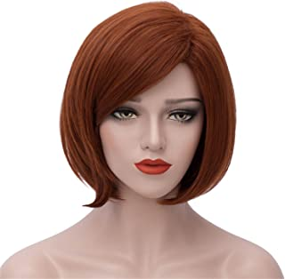 Short Wigs for Women Dark Brown Hair Wig Halloween Cosplay Wig Anime Costume Party Wig with Eye Mask and Wig Cap BU132A