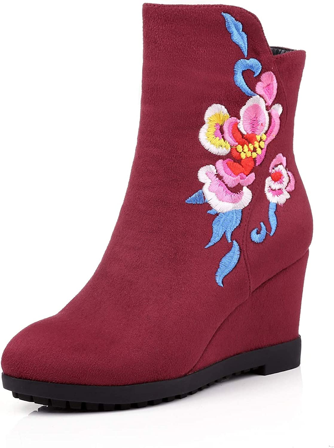 Women's Booties, Side Zipper Plus Velvet Cloth shoes Ladies Fall Winter New Wedge Embroidered Fashion Boots Ankle Boots (color   A, Size   38)