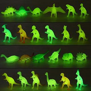 Yeonha Toys 80 Piece Glow in Dark Mini Dinosaur Toy Set(24 Style), Plastic Realistic Dino Figure, Luminous Noctilucent for...