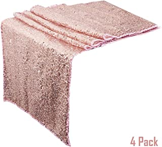 yofit Rose Gold Table Runners, Shinny Sequin Wedding Decoration, Glitter Sequin Runners for Table, 4 PACK