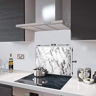 Beyaz Mermer Görünümlü | Cam Ocak Arkası Koruyucu (40cm x 60cm)