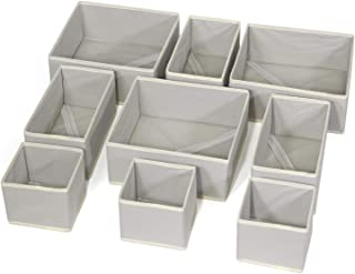DIOMMELL Foldable Cloth Storage Box Closet Dresser Drawer Organizer Fabric Baskets Bins Containers Divider for Clothes Underwear Bras Socks Lingerie Clothing,Set of 9 Grey 333