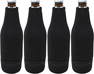TahoeBay 4 Beer Bottle Sleeves - Easy-On Bottom Zipper - Extra Thick Neoprene Blank Drink Cooler (Black, 4)