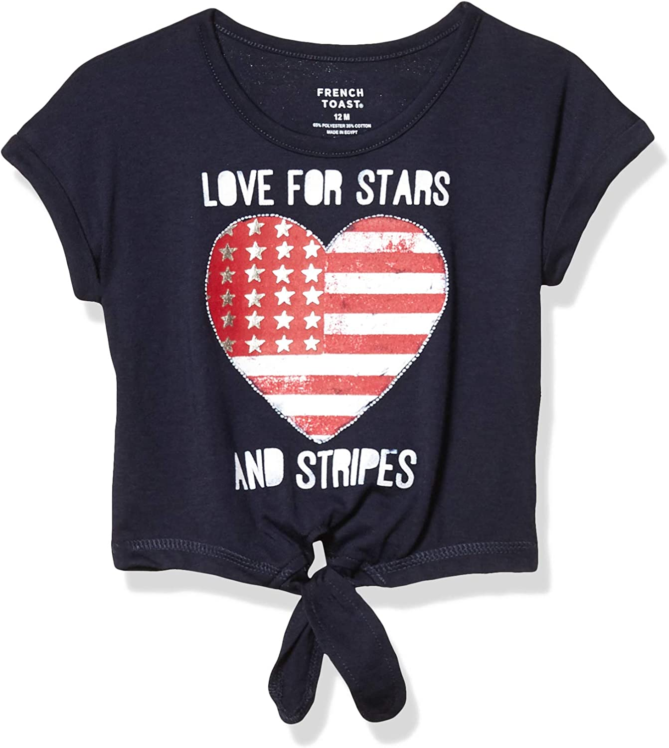 French Toast Baby Girls' Short Sleeve Tie Front Graphic Tee Shirt