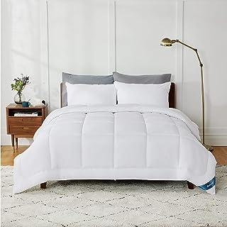 BEDSURE Couette 240X260 cm - Couette Tempérée 300g/m², Couette 2 Personnes Blanc avec Onglets d'angle, Couverture Construc...