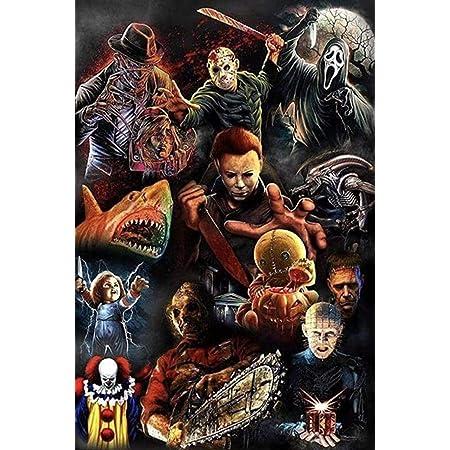 FZKFYJ Halloween Personaggi dei Film Horror in Legno 1000 Pezzi Puzzle Colorati Colorati Giocattoli educativi per Uomini e Donne