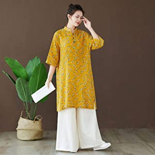 Floral Long Section Women's Long Blouse Buttoned Slit Dress Mid-sleeve Large Size Dress Elegant Party Outdoor Daily Dress ...