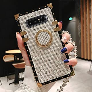 BABEMALL Compatible for Samsung Galaxy S8 Plus Case, Elegant Premium Bling Square Protective Shock Absorption Metal Decoration Corner Back Case with Crystal Strap (Silver)