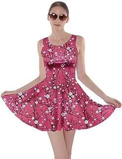 Womens Japanese Style Cherry Blossom Crane Floral Flowers Sakura Fuji Skater Dress, XS-5XL