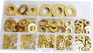 Brass Flat Round Washer Countersunk Metric Plain Gasket Metal for Screw Standard Hardware Tool Fastener M2 M2.5 M3 M4 M5 M6 M8 M10 M12 M14 Assortment Kit Assorted SAE 325pcs