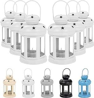 Nicola Spring Candle Lanterns Tealight Holders Vintage Metal Hanging Indoor Outdoor - 16cm - White - Set 6