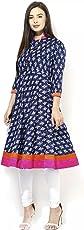 AnjuShree Choice Women's Cotton Blue Printed Stitched Anarkali Kurta Kurti