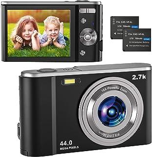 Digitalkamera 2.7K UHD, Vlogging Fotokamera 44MP für Streaming-Video Aufnehmen, Kompaktkamera mit 2.8'' IPS 16X Digital Zoom und 2 Batterien, Fotoapparat Digitalkamera für Kinder/Jugendliche/Anfänger