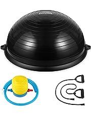 バランスボール 半円型 チューブ付き 半球 ダイエット 直径58㎝ Everymile エクササイズボール 体幹トレーリング バランスボード 空気入れ付属 運動 ヨガ 腹筋 背筋