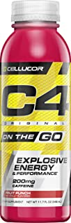 Cellucor C4 On The Go Zero Sugar Pre Workout Drink, Energy Drink + Beta Alanine, Fruit Punch, 11.7 Fl Oz (Pack of 12)