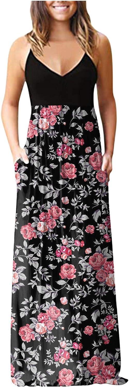 Aniwood Summer Dresses for Women Sleeveless Deep V Bohemian Printed Sling Maxi Dresses Boho Dress Party Beach Sundress